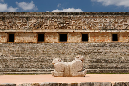 Jaguar throne on front of governor's palace, Uxmal, Mexico